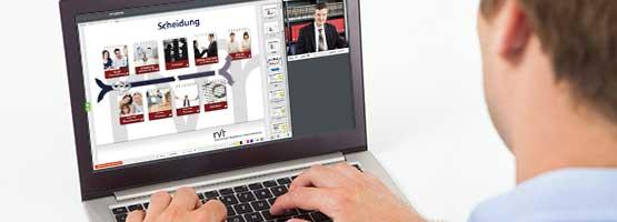 Es wird ein Webinar über Scheidungsrecht an einem Desktop Computer gehalten
